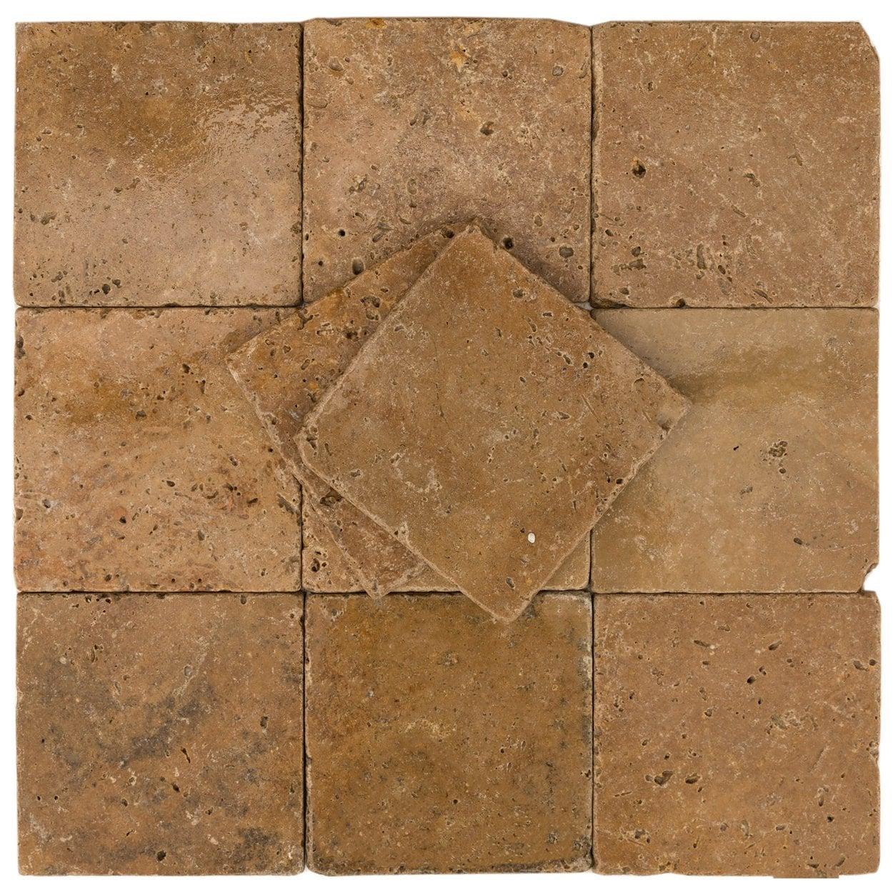 "Walnut-Premium-Light Brown / 6""x6""x3/8"" / Tumbled Antique Tumbled Travertine Backsplash Tiles 0"