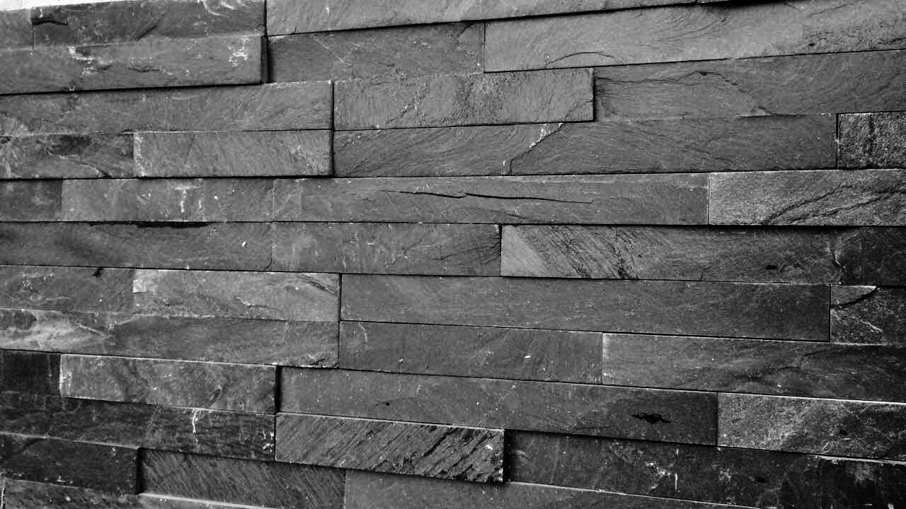 "Thin Stone / Black Slate / 3.94""x14.17"" Thin Stone Siding Collection 0"